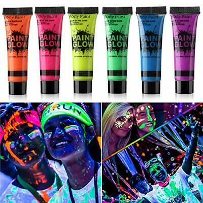 GARYOB Glow in Dark Face Body Paint UV Blacklight Neon Fluorescent 0.34oz Set