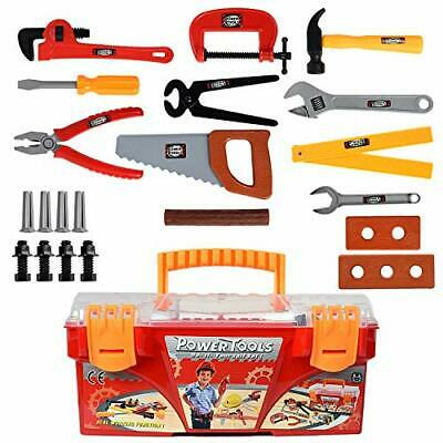 WolVol 26-Piece Tool Box Set with Removable Tool Tray - Great Gift Toy for Boys