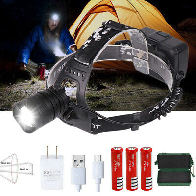 High Powerful 90000LM XHP50 LED Headlamp USB Rechargeable Zoom Headlight Torch
