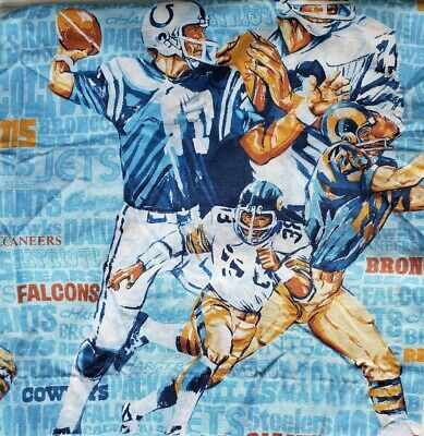 Vintage JC Penney NFL Team Names Football Players All Over Print Curtains 40x60