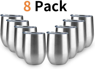 MEWAY 12 OZ/8 Pack Wine Tumbler Glasses with Lid - Stemless Double Wall Vacuum -