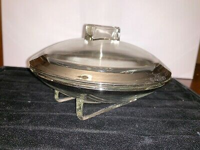 SPACESHIP Mid Century Modern Candy Dish Clear & SILVER MCM ATOMIC SAUCER RARE