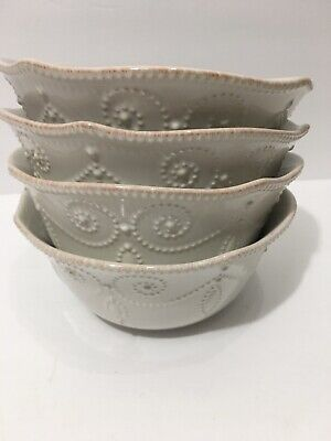 Lenox French Perle White Cereal Bowls Set 4 Used