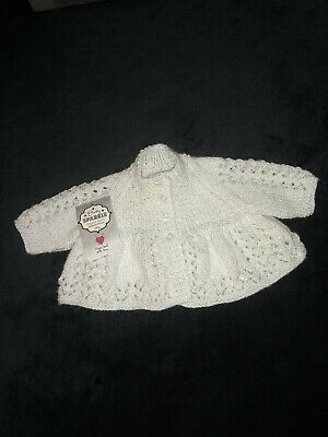 """NEW Hand knitted prem/tiny baby girls sparkly white lacy cardigan 12""""  (25)"""
