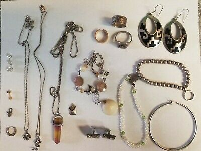 Sterling Silver Estate Jewelry And Pearls Lot 77 Grams Mixed 925 Vintage