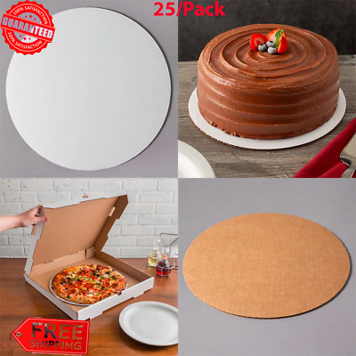 (25/Pack) White Round Corrugated Cardboard Pizza Cake Circles for Display Stand