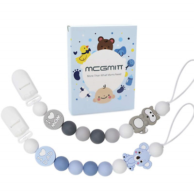 Dummy Clips Boys Silicone 2 Pack Baby Pacifier Chain Beads Soothie Pacifier & &