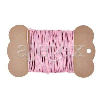 20M Waxed Cotton Thread Cord String Necklace Beading Jewellery Making 1x1mm Pink