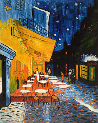 Van Gogh Cafe Terrace at Night Oil Painting Museum Hand-Painted Canvas 24x30