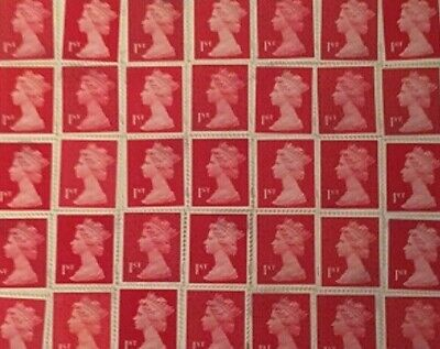 100 x 1st  class stamps unfranked Self-adhesive Peel And Stick-FV £70.00
