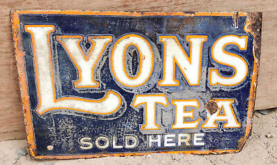 Vintage Double Sided Enamel Sign Board Lyons Tea Sold Here 1930s