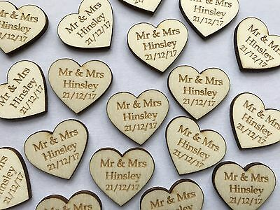 Personalised Wooden Love Heart Table Decorations Wedding Favours Confetti Mr Mrs