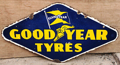 Vintage Double Sided Goodyear Tyres Enamel Sign Automobilia Collectable 1930 USA