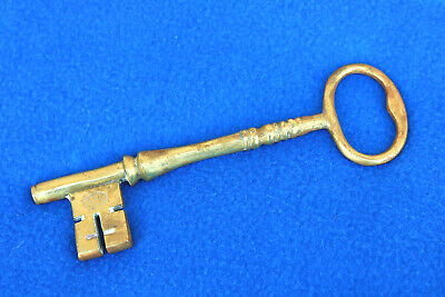 Vintage BRASS KEY V M Marked Stamped Large Paper Weight Unusual Unique Gift JI