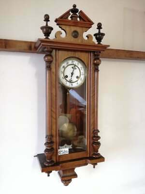 Vintage Antique  Woden WALL CLOCK, MEDIUM/DARK WOOD, WITH PENDULUM