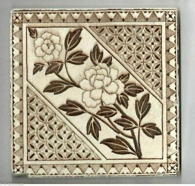 Antique Tile Brown & White Aesthetic Movement c 1890s Flowers & Geometric Shapes