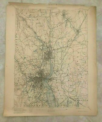 Antique 1919 Geological Survey Topographic Map RI Providence Pawtucket  Cranston