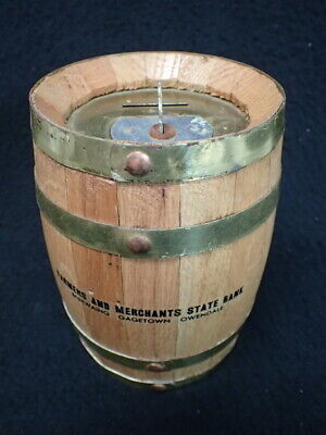 Farmers & Merchants State Bank Advertising Wooden Oak Barrel Bank w/ Lock & Key