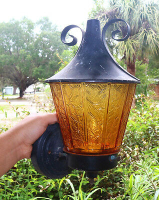 Black Gothic Medieval Unusual Amber Lamp Metal Light Wall Sconce Fixture Odd JP