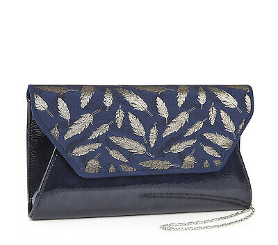 Ruby Shoo NEW Deia navy blue patent gold feather women's clutch shoulder bag