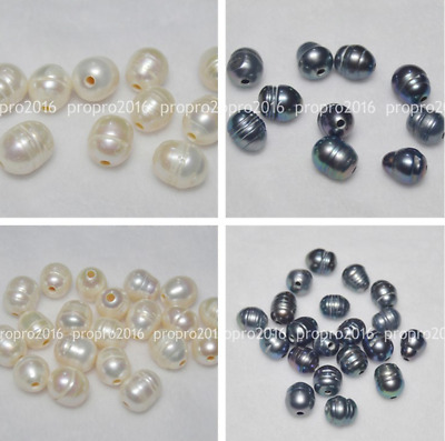 Wholesale 5/10/20 Pcs 2mm Big Hole White & Black 10x12mm Natural Real Pearl Bead