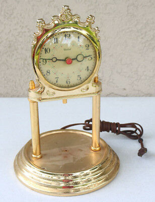 UNITED Electric Mantle Shelf Clock Brass Red Jewel No Bell Spin Balls Parts KB