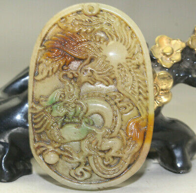 Chinese hand-carved dragon phoenix old jade pendant k337