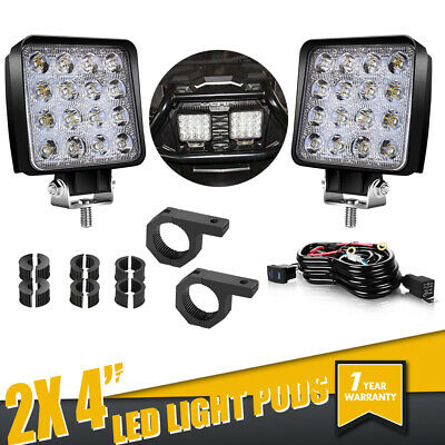 2x 4Inch 48W Square LED Work Light Pods SPOT For SUV Truck Offroad Driving Light