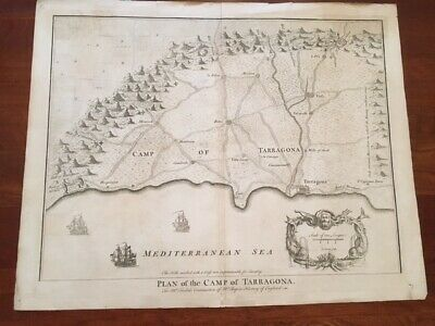 RARE 1745 Folded MAP Plan Camp of TARRAGONA, Northeast Spain CATALONIA Region