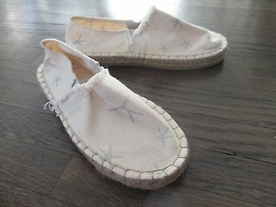New Zara Girls Sz 30 Cream Silver Star Print Slip On Espadrilles Shoes B6