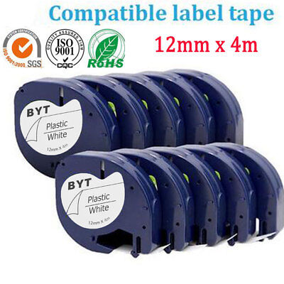 Tape Cartridge 91201 Black on White 12mm by 4m for DYMO LETRATAG Label Maker LT