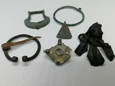 Ancient Viking Silver Bronze Jewelry - Goose Foot Amulet, Penannular Brooch, Axe