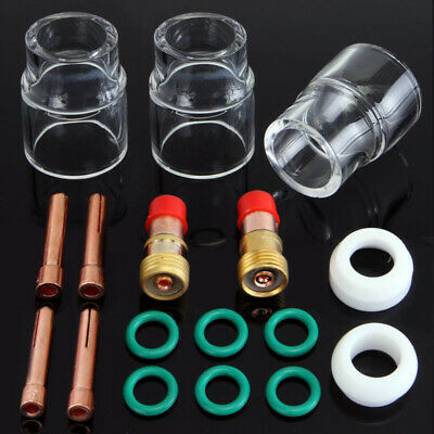 Soldering TIG Welding Torch Consumables Assorted 17pcs Gas Lens 3/32 Inch