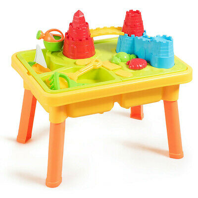 Sand And Water Play Table For Kids With Sand Castle Molds Beach Toy Play Set New