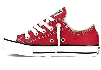 New Unisex Girls Boys Converse Chuck Taylor All Star Ox, Trainers Red Size UK 1