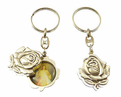 Silver rose slider Divine Mercy Jesus keyring gift 8cm sliding double sided