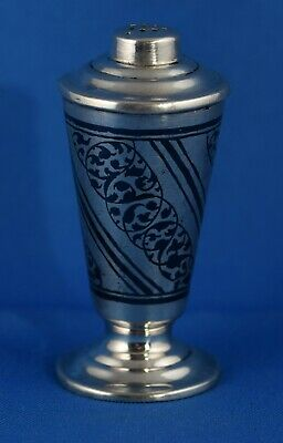 Fine Russian Niello Decorated Solid 875 Silver Pepper Pot