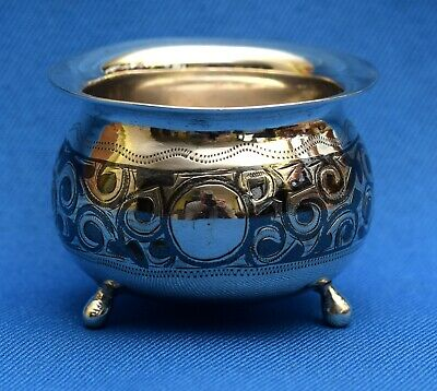 Antique Fine Russian Niello Decorated Solid 84 Silver Salt Cellar