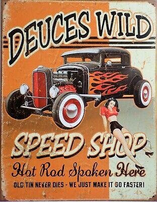 """PLAQUE TOLE RELIEF 20 x 30 cm Moto Pin-Up /""""HOT ROD/"""" Neuf"""