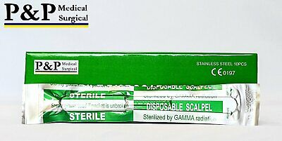Disposable Scalpels Sterile Size 11 Plastic Handle & Metric Line Set of 5