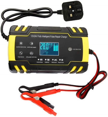Dandelionsky Car Battery Charger and Maintainer, 12V 24V 3-Stage Automatic with