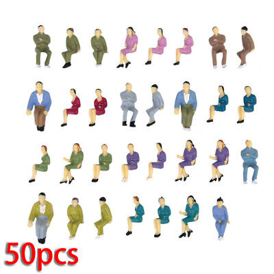 50pcs 1/50 Seated Painted Joblot Model Railway SITTING People Figures 3x1cm