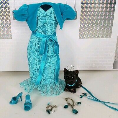 Barbie MISS TURQUOISE Birthstone Beauty December COMPLETE OUTFIT JEWELRY & DOG