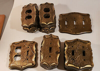 Vintage Amerock Carriage House Scroll Brass Switch Plates & Outlet Covers 35 Pcs