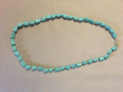 Vintage Turquoise Chinese Knuckle Nugget Bead Necklace 14K Clasp