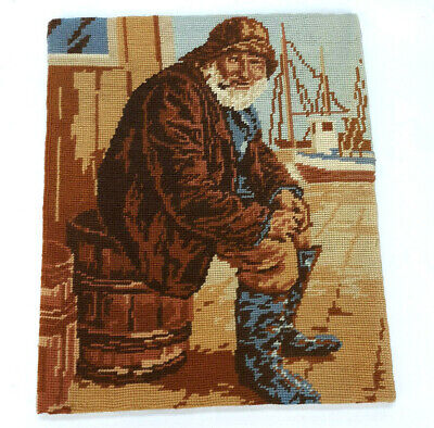 Vintage Needlepoint Sailor Sea Captain Fisherman w Pipe Completed Nautical 15in
