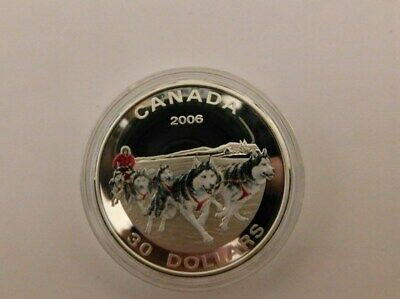2006 $30 Sterling Silver--Dog Sled Team--(((((((( Beautiful Coin)))))))))))