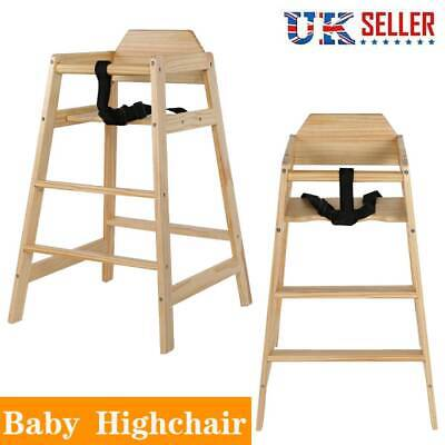 Adjustable Wooden Highchair Baby Wood High Chair with Tray - Safety Design UK