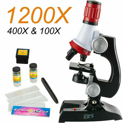Kids Educational Microscope Kit Science Lab LED 100-1200X FUNNY Toy Home School