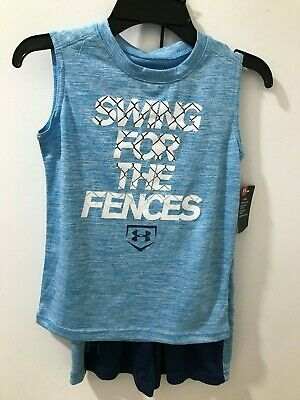 Under Armour Heatgear Boys Blue Sz 6 2-Piece Graphic Tank /& Short Set $36 NWT